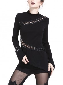 High Collar Asymmetrical Metal Eyelets Lace-Up Long Sleeve Black Punk T-Shirt