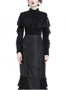 High Collar Front Chest Lace Flounce Long Sleeve Black Gothic Knit T-Shirt