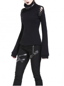 Metal Zipper High Collar Shoulder Hollow-Out Lace-Up Long Sleeve Black Punk T-Shirt