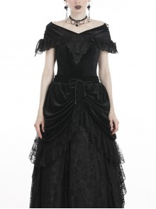 Off-Shoulder Front Chest Decals Lace Lace-Up Cuff Black Gothic Velvet T-Shirt