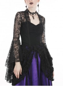 Black Gothic Gorgeous Lace Horn Sleeves Front Decals T-Shirt