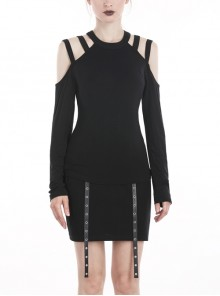 Off-Shoulder Long Sleeve Black Punk Knit Halter T-Shirt