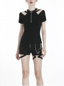 Front Metal Zipper Off-Shoulder Bandage Short Sleeve Black Punk T-Shirt