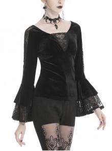V-Neck Front Chest Lace Decals Flare Sleeve Black Gothic Velvet T-Shirt