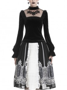 High Collar Front Chest Splice Embroidery Mesh Frill Cuff Black Gothic Velvet T-Shirt