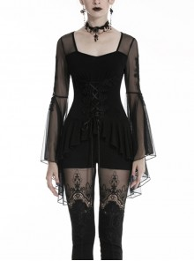 Front Waist Decals Lace-Up Mesh Flower Sleeve Black Gothic T-Shirt