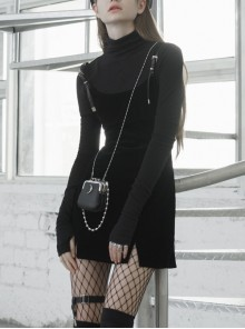 Steam Punk Female Casual Black PU Leather Strap High Waist Dress
