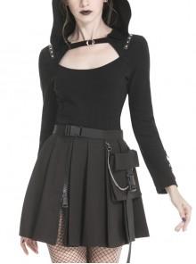 Front Hasp Shoulder Metal Nail Strap Decoration Long Sleeve Black Punk T-Shirt