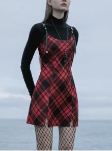 Steam Punk Female Black Red Lattice PU Leather Strap High Waist Dress