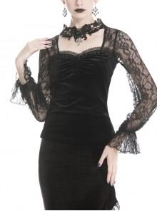 Decals Necklace Collar Back Lace-Up Lantern Sleeve Black Gothic Velvet T-Shirt
