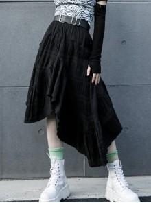 Steam Punk Female Casual Black Irregular Hem Elastic Long Skirt