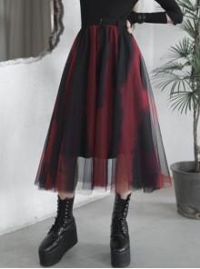 Steam Punk Female Black Red Mesh Stitching Loose Long Skirt