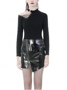 High Collar One-Shoulder Hollow-Out Lace-Up Black Punk Tight T-Shirt