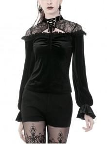 Black Gothic Lace-Up Collar Lace Shoulder Lantern Sleeve Velvet T-Shirt