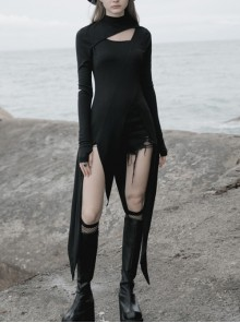 Steam Punk Female Black Long Sleeve Hollow Irregular Hem Elastic Dress