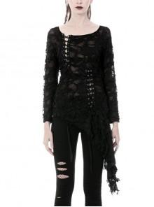 Back Broken Holes Skull Irregular Slit Lace-Up Lace Hem Black Punk T-Shirt