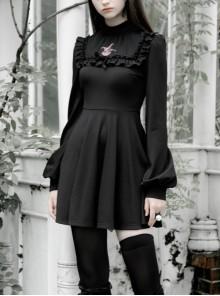 Gothic Female Dark Long Sleeve Clown Printed Pleated Skirt