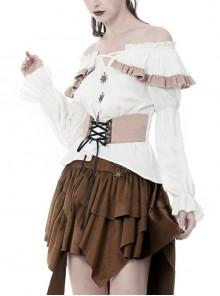Off-Shoulder Front Chest Frill Bandage Waist White Punk T-Shirt