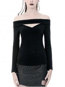 Off-Shoulder One-Work Shoulder Back Lace-Up Long Sleeve Black Punk Knit T-Shirt