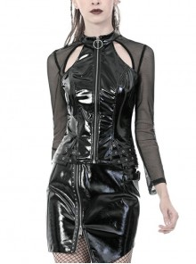 Metal Zipper Front Chest Hollow-Out Mesh Long Sleeve Black Punk PU Leather T-Shirt