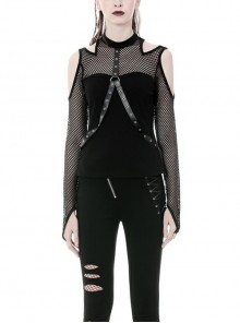 Off-Shoulder Mesh Long Sleeve Front Chest Metal Eyelets Strap Black Punk Tight T-Shirt