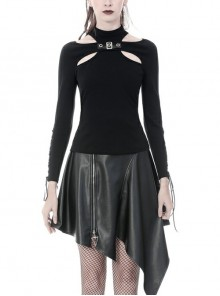 High Collar Front Chest Hollow-Out Metal Hasp Slit Lace-Up Long Sleeve Black Punk Tight T-Shirt