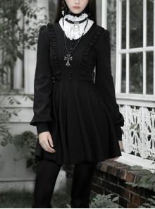 Gothic Black Female Long Sleeve Lotus Leaf Hem Pleated Dress