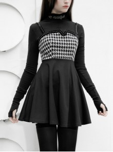Steam Punk Female Black Elegant Bird Printed Stitching Strap Dress