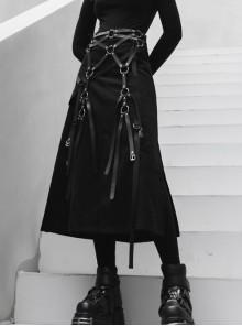 Steam Punk Female Casual Black Binding Split Long Skirt