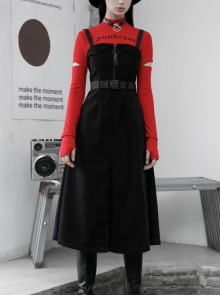 Steam Punk Female Black Belted Zipper Strap Long Dress