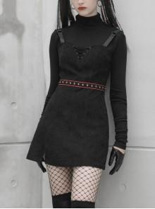 Steam Punk Female Black Strap Belted  Binding High Waist Dress
