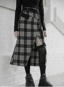 Steam Punk Female Black Grey Lattice Split Plaid Long Skirt