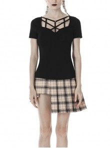 Front Chest Hollow-Out Bandage Short Sleeve Black Punk T-Shirt