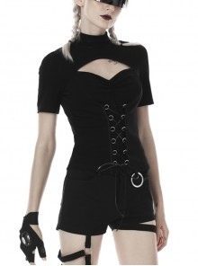 High Collar Front Chest Hollow-Out Waist Metal Eyelets Lace-Up Short Sleeve Black Punk T-Shirt