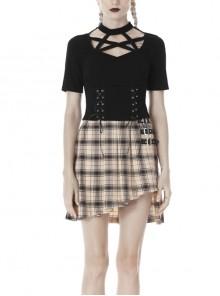 Front Chest Hollow-Out Star-Shape Bandage Short Sleeve Slit Lace-Up Hem Black Punk T-Shirt