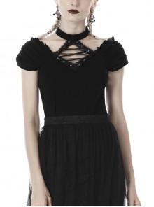 V-Neck Front Chest Metal Eyelets Lace-Up Short Sleeve Black Punk Halter T-Shirt