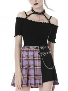 Black Punk One-Word Shoulder Metal Ring Strap Short Sleeve T-Shirt