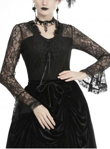 Front Chest Decals Lace-Up Lace Long Sleeve Flare Cuff Black Gothic T-Shirt