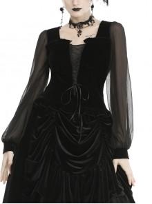 Black Deep V-Neck Lace-Up Chiffon Lantern Sleeve Gothic Velvet T-Shirt