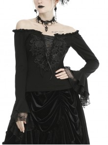 Black Off-Shoulder Front Chest Decals Lace-Up Lace Flare Cuff Gothic Blouse
