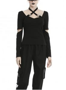 Black Punk Slit Long Sleeve Hasp Halter Tight T-Shirt