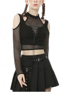 Off-Shoulder Splice Mesh Front Chest Lace-Up Long Sleeve Black Punk Short T-Shirt
