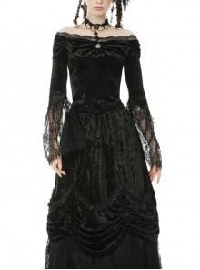 One-Word Collar Front Chest Frill Pendant Decoration Big Lace Cuff Black Gothic Velvet Blouse