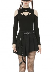Off-Shoulder Front Chest Hollow-Out Bandage Metal Moon-Shaped Pendant Black Punk Tight T-Shirt
