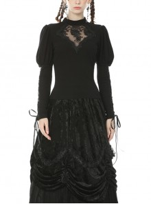 Front Chest Splice Decals Mesh Slit Lace-Up Long Sleeve Black Gothic T-Shirt