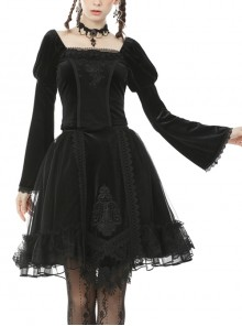 Square Collar Front Chest Decals Flare Sleeve Black Gothic Velvet Blouse