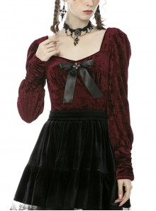 Square Collar Front Chest Bow Lantern Sleeve Wine Red Gothic Blouse