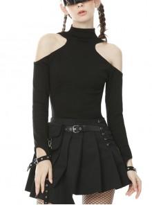 Off-Shoulder Back Zipper Long Sleeve Metal Eyelets Strap Black Punk Tight T-Shirt
