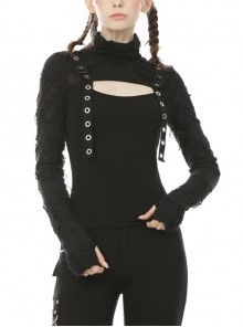 High Collar Front Chest Hollow-Out Metal Eyelets Strap Black Punk Broken Holes Knit T-Shirt