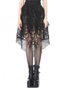 Black Punk Lace-Up Messy Lace Mesh Short Skirt